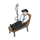 Businessman infusion. Medicine cartoon vector royalty free illustration