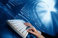 Businessman input data. Data flow on background Stock Image