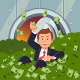 Businessman inside bank vault lying in dollar cash Stock Images