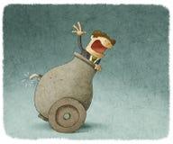 Businessman inside a cannon royalty free illustration