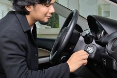 Businessman inside the car Royalty Free Stock Images