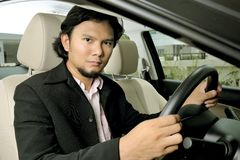 Businessman inside the car Royalty Free Stock Photos
