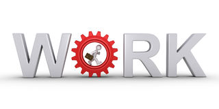 Businessman is inside cogwheel. 3d businessman is running inside cogwheel as part of WORK word Royalty Free Stock Images