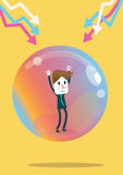 Businessman inside the economic bubble. Royalty Free Stock Images