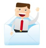 Businessman inside the envelope Stock Photo