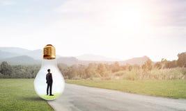 Businessman inside light bulb Royalty Free Stock Image