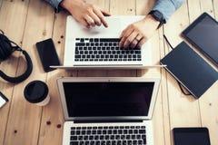 Businessman Insider working wood table laptop Modern Interior Design Loft Office.Man Work Coworking Studio,Use Notebook Royalty Free Stock Photography