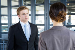 Businessman interacting with his business colleague Royalty Free Stock Photo
