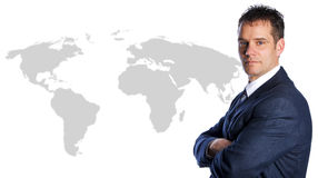 Businessman International. On a world map isolated Stock Image