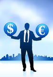 Businessman on internet background Stock Image