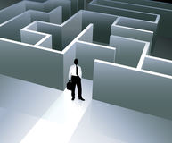 Businessman internet background with maze Royalty Free Stock Images