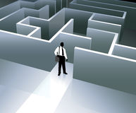 Businessman internet background with maze Stock Image