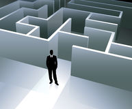 Businessman internet background with maze Stock Images