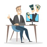Businessman with internet earnings. Money from computer screen Royalty Free Stock Photos