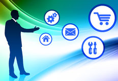 Businessman with Internet Icons on Abstract Color Background Stock Images