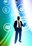 Businessman with Internet Icons on Abstract Color Background Stock Image