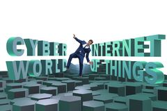 The businessman in internet of things concept royalty free stock photo