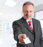 Businessman introducing himself Stock Photos