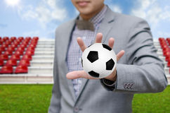Businessman invest in soccer team Royalty Free Stock Photos