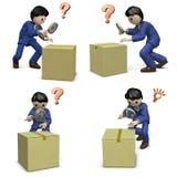 A businessman investigating suspicious boxes. A set of 4 illustrations. 3D illustration Stock Photo