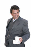 Businessman invite to coffee. Over white background Royalty Free Stock Image