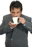 Businessman invite to coffee. Over white background Royalty Free Stock Images
