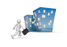 Businessman invites to new office building. 3d isolated characters, businessmen, business concepts series Stock Images