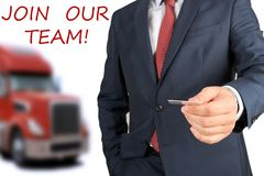 Businessman inviting/hiring new drivers to the truck company. Businessman inviting new drivers to the truck company stock photography