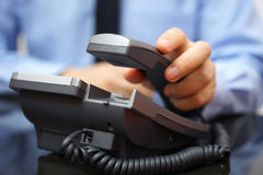 Free Businessman Is Picking Up Telephone Handset, Customer Service Royalty Free Stock Photo - 69422725