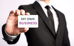Free Businessman Is Showing My Own Business Vcard Stock Image - 94146441
