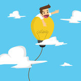 Businessman island on the balloon bulb ideas, freedom of thought Royalty Free Stock Photo