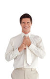 Businessman isolated against white Stock Image