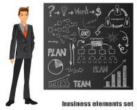 businessman isolated suit white 橙色关系 有手拉的元素的布朗黑板 也corel凹道例证向量 免版税库存图片