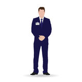 Businessman isolated vector illustration. Lawyer, manager, accountant, broker, business owner in dark blue suit Royalty Free Stock Photos