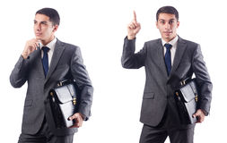 The businessman isolated on the white Stock Image