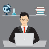 Businessman and isometric laptop Stock Photo