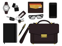 Businessman items. Color. EDC set. Every day carry businessman items collection. Vector items  on white. Color Stock Photography