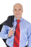 Businessman with a jacket in his hands Stock Photos
