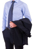 Businessman with jacket over arm. Royalty Free Stock Photos