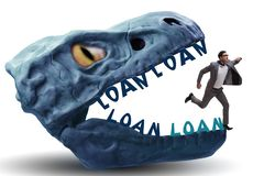 The businessman in the jaws of debt and loan. Businessman in the jaws of debt and loan royalty free stock photo