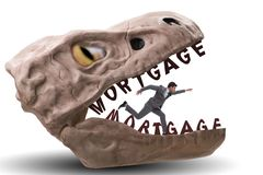 The businessman in the jaws of debt and loan. Businessman in the jaws of debt and loan stock photo