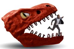 The businessman in the jaws of debt and loan. Businessman in the jaws of debt and loan stock image