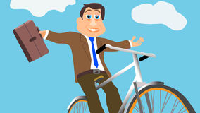 Businessman Joyfully Rides Bike Royalty Free Stock Images