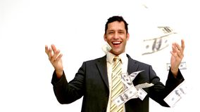 Businessman joyfully throwing his money stock footage