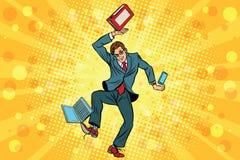 Businessman juggler clerk. Vintage comics cartoons illustration pop art retro vector. Juggling chores, computer, and smartphone Royalty Free Stock Images