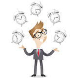 Businessman juggling with alarm clocks. Vector illustration of a smiling cartoon businessman juggling with alarm clocks, symbolizing time management Stock Photo