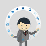 Businessman juggling business icons Royalty Free Stock Photo