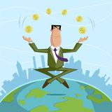 Businessman juggling with dollar coin Royalty Free Stock Images