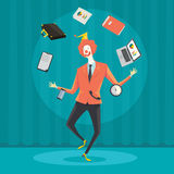 Businessman juggling with office equipment. Royalty Free Stock Photos