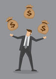 Businessman Juggling Sacks of Money Vector Illustration Stock Photo